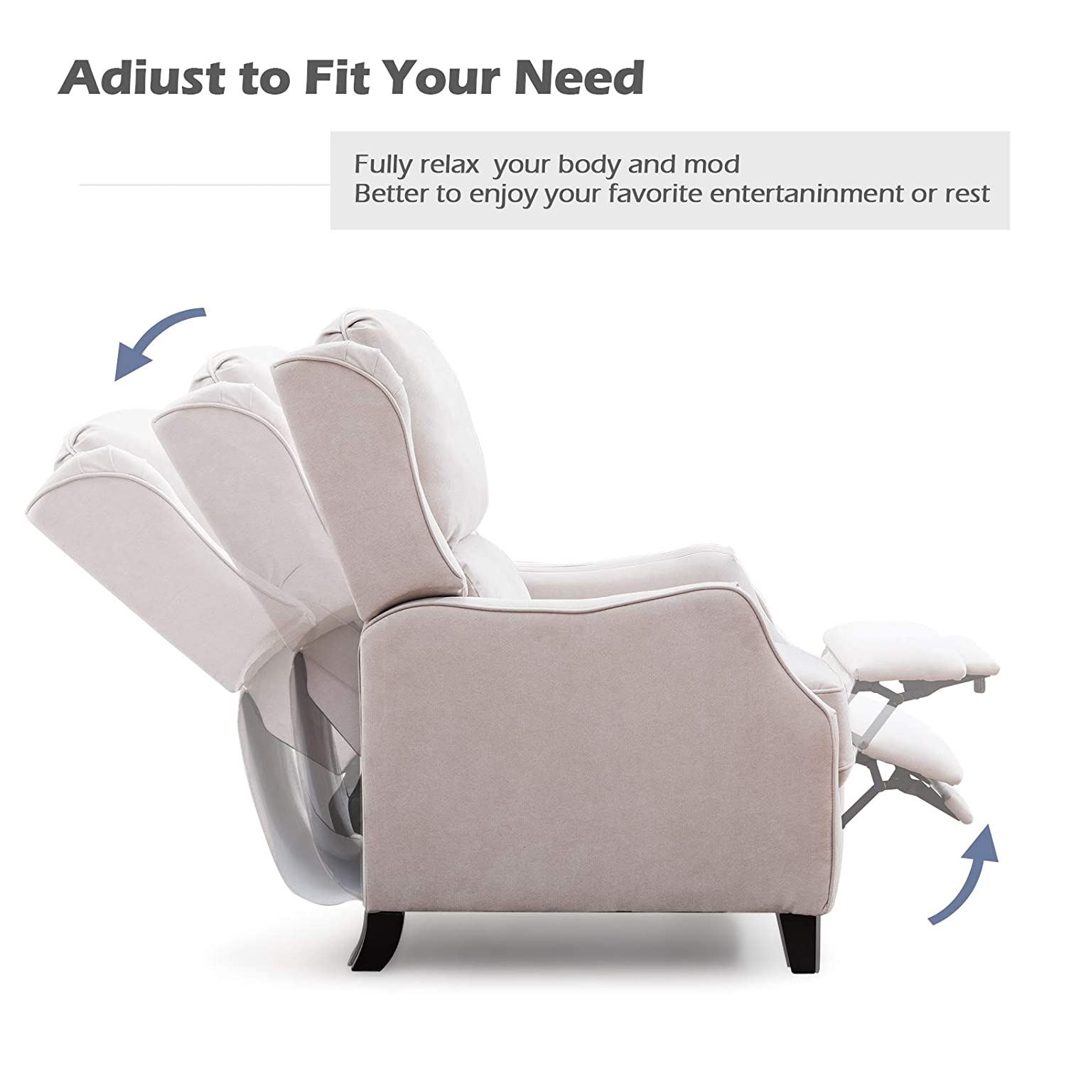 Amazon.com: ANJ - Silla reclinable con respaldo y cojín ...