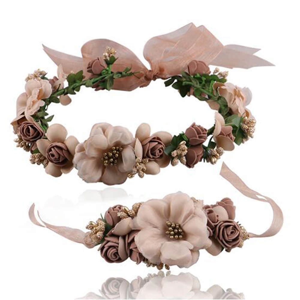 LCHULLE Flower Headdress Super Cute Floral Headband Crown Adjustable Wedding Fabric Beaded Romantic Wreath Halo Headpiece Circlet Hair Accessories Hat Ornament