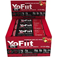 Keto Bars For Low Carb Diet Fans. 2g of Net Carbs. Gluten & Dairy Free Snacks w/Plant Based Protein. Strawberry-Vanilla Flavour (12 pack)
