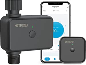 TROND Smart Sprinkler Water Timer with Wi-Fi Hub, Automatic Hose Faucet Timer with Rain Delay, Programmable Irrigation Timer with Irrigation&Mist Mode for Outdoor Garden, Lawn