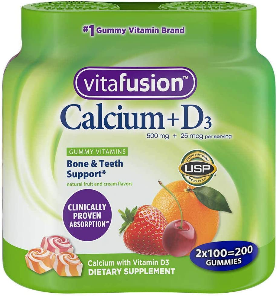 Vitafusion Calcium, Gummy HDEsa Vitamins For Adults, 100 Count (Pack of 2) fJBQN