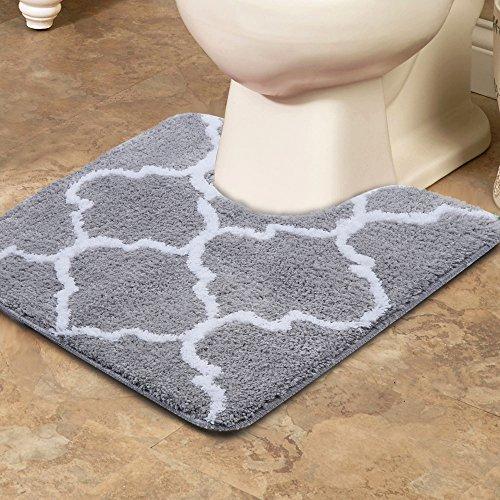Uphome Contour Bath Rug Moroccan Microfiber Anti-Bacterial U-Shaped Toilet Floor Rug Shower Mat Soft Shaggy Non Slip Bathroom Carpet, 20x20