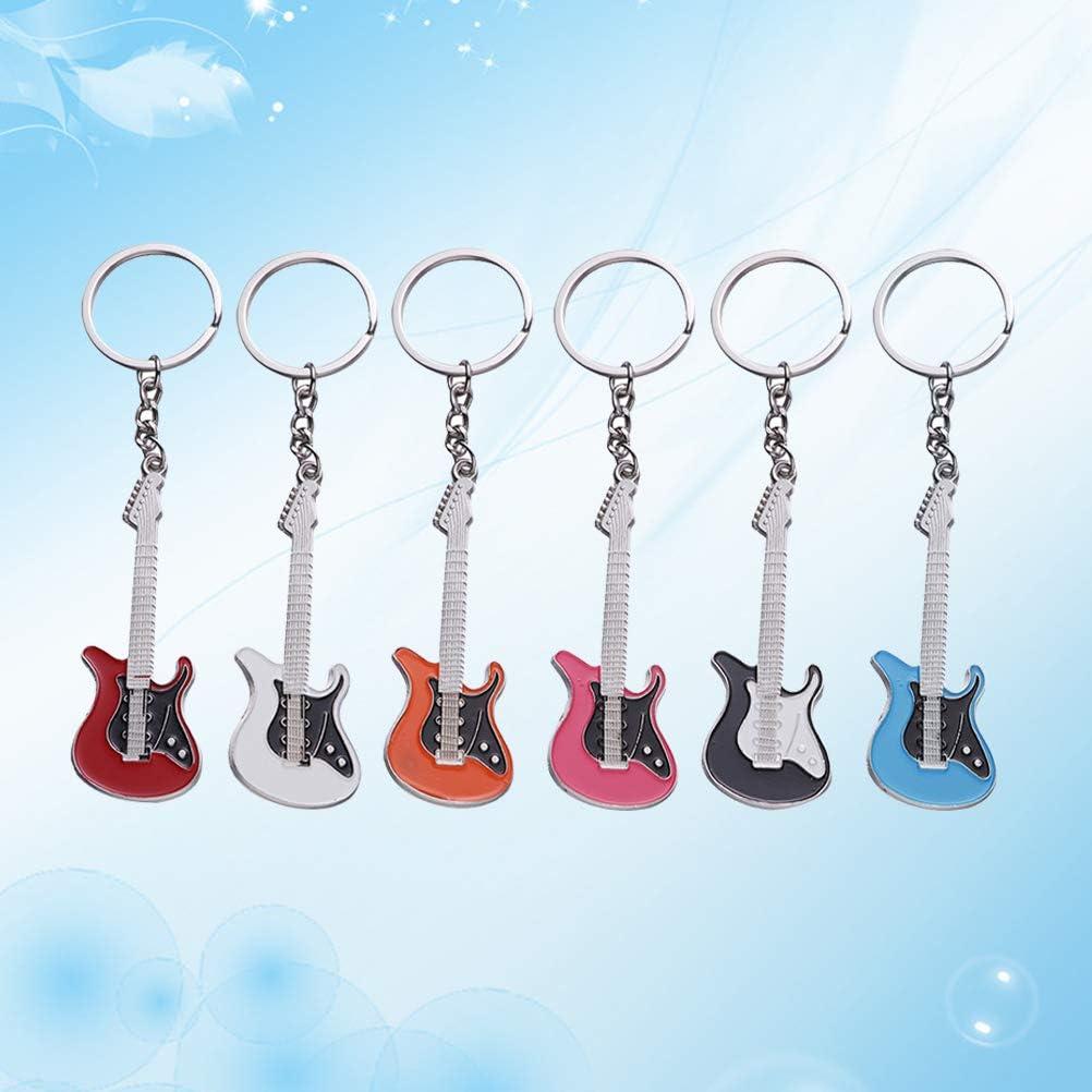 Toyvian 12 unids Llavero de Guitarra Llavero Mini Lindo bajo Llavero para la Llave del Coche Bolso