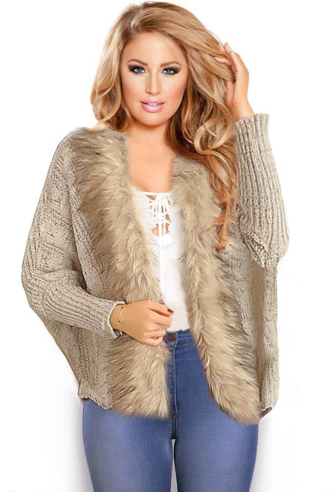 Resort Goddess Winter Cardigan Jacket for Women Faux Fur Knit Shawl Warm Soft Furry Sexy (Beige Cream)