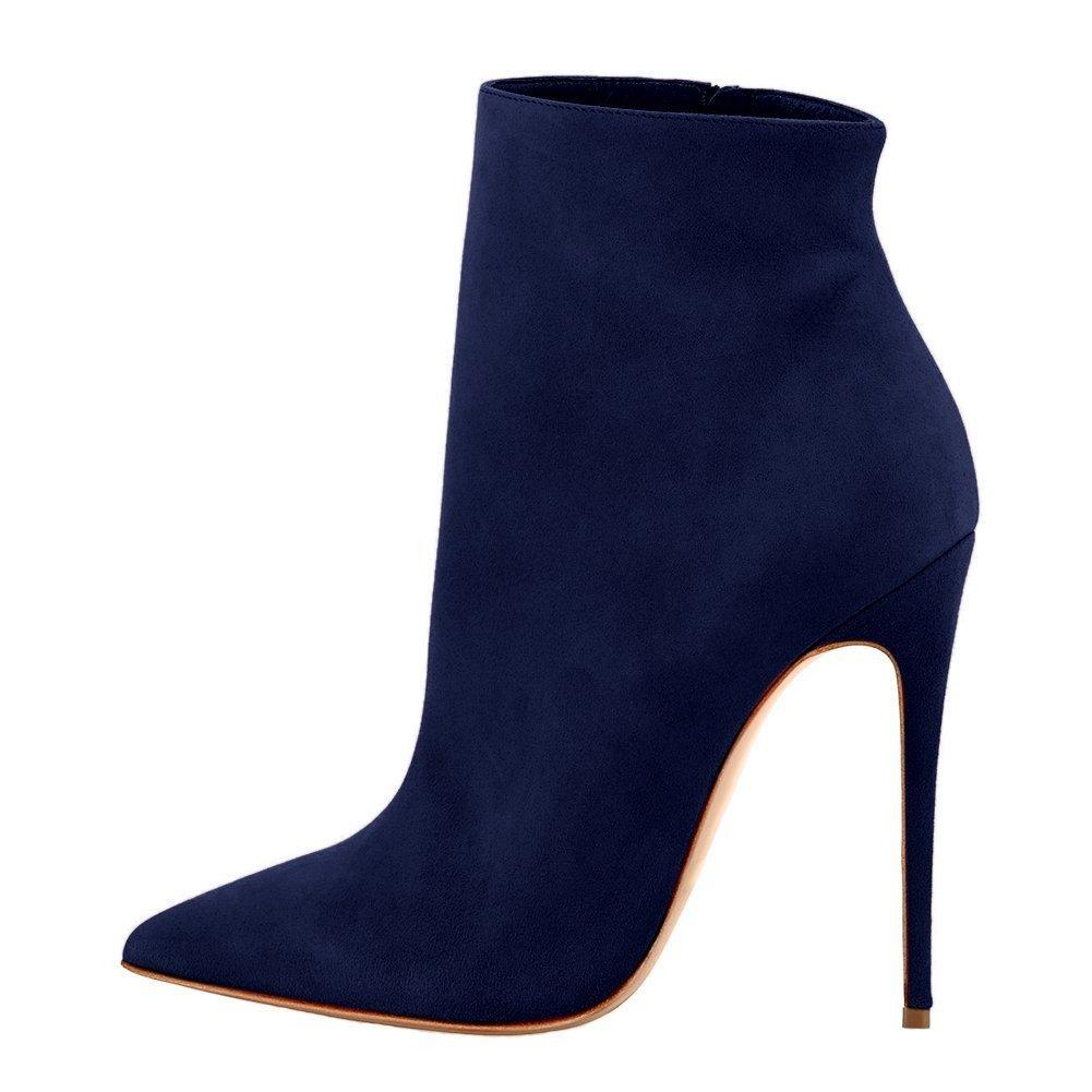 VOCOSI Damen Geschlossene Spitze Booties Stilettos High Heels Kleid Stiefeletten Schuhe  39 EU|Blau