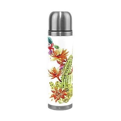 Alaza Cactus Fleur double paroi en acier inoxydable Thermos Bouteille d'eau 481,9gram anti-fuite Bouteille thermos pour boissons chaudes et froides