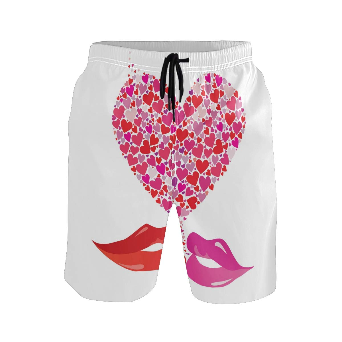 Mens Swim Trunks Valentines Day Love Heart Lips Quick Dry Beach Board Short with Mesh Lining