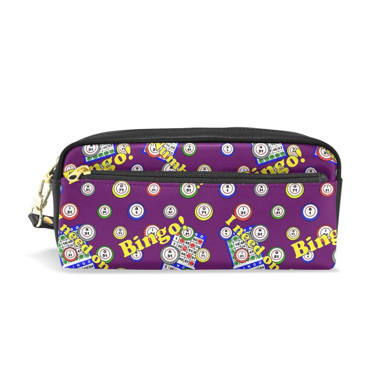 PU Leather Staroklaho Bingo Pen Pencil Case Bag Purse Pouch Cosmetic Bag Zipper for School Boy Girl Office Work by AngSing