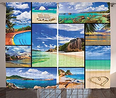 Ambesonne Home Decor Collection, Collage of Tropic Summer Sandy Beach Tranquil Peaceful Serene Relaxing Images Coastal Theme, Window Treatments, Living Room Bedroom Curtain 2 Panels Set, Cream Blue