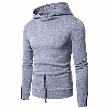 Tops Casuales de los Hombres, Sudaderas Delgadas Chaquetas de Invierno Suéter cálido Suéter de Cuello Alto Sudadera con Cremallera Sudadera de Manga Larga: ...