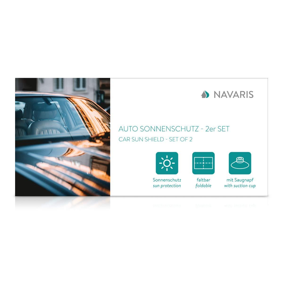 Navaris 2X Parasol para Coche Cortinas para Ventanas en Negro Cortinas de Auto de protecci/ón UV Protector Solar para Ventana Lateral Trasera