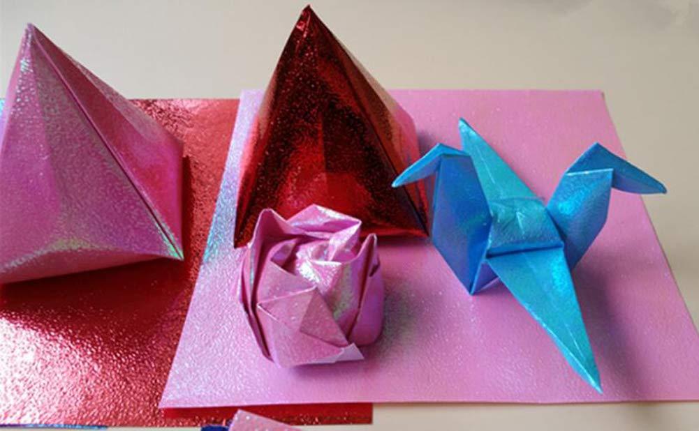 50PCS assortiti 10/colori lucido singolo lato piazza mano pieghevole fold origami iridescente Flicker ologramma per principianti Kindergarten Handmade accessori fai da te 15CMx15CM Assorted Color