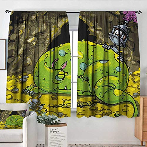 Prairie Velvet Natural Fabric - Living Room Curtains Dragon,Cute Creature Sleeping on A Pile of Gold and Scared Knight Peering Over Kids Cartoon, Multicolor,Darkening and Thermal Insulating Drapes 52