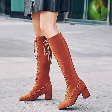Mujer y Niña Botines otoño fashion fiesta,Sonnena ❤ Las mujeres se abrochan las correas Altas botas altas con cordones Over The Knee Boots moda de otoño ...