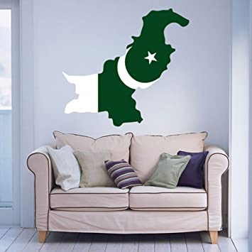 Amazoncom Pakistani Flag Map of Pakistan Wall Vinyl Sticker