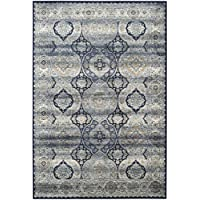 Safavieh Persian Garden Vintage Collection PGV611B Traditional Navy and Ivory Silky Viscose Distressed Area Rug (8 x 11)