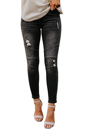ec83e9d7979 chimikeey Womens Juniors Ripped Skinny Moto Biker Jeans Denim Leggings  Jeggings Pants (Small