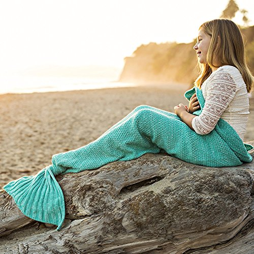 Riviera Mermaid Tail Blanket + Bonus Seashell Necklace and Bookmark - Soft Cozy Sea Tail Blanket Fits Kids and Adults - Magical Sleepover Fun! ()