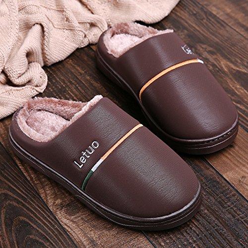 Inverno fankou paio di pantofole di cotone gli uomini e le donne di spessore inferiore impermeabile coperta calda anti-skid soft home home inverno maschio, 44/45 (consigliato 43/44 usura), marrone