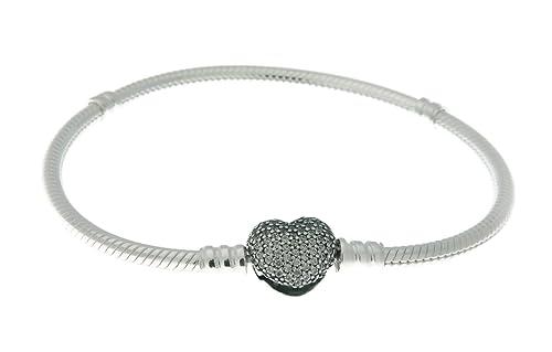 """PANDORA 590727CZ-20 Sterling Silver Pave Heart Clasp Bracelet, 7.9"""""""