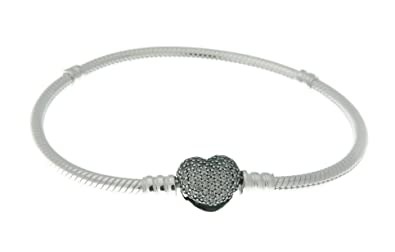 8741777d6 PANDORA 590727CZ-16 Sterling Silver Pave Heart Clasp Bracelet, 6.3 Inch