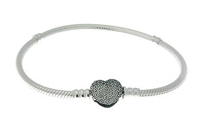 aa4624eb0 PANDORA 590727CZ-16 Sterling Silver Pave Heart Clasp Bracelet, 6.3 Inch