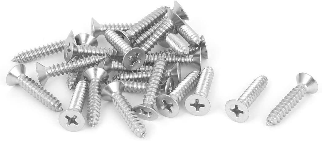 Uxcell a16051600ux0637 M4.8x25mm 316 Stainless Steel Flat Head Phillips Self Tapping Screws Bolts 25pcs