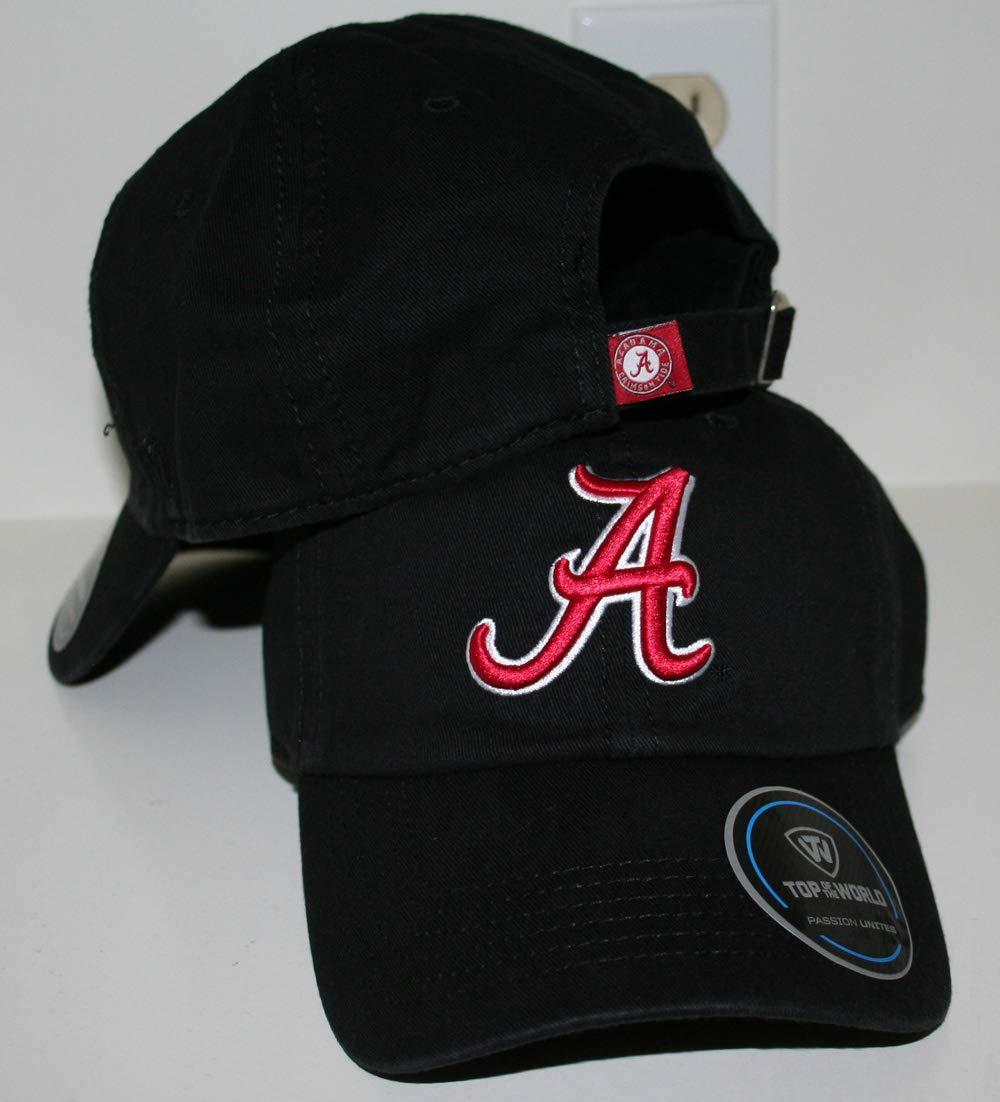 University of Alabama AL Crimson Tide Top Crew Black Unstructured 100/% Cotton Adult Mens//Womens Adjustable Baseball Hat//Cap