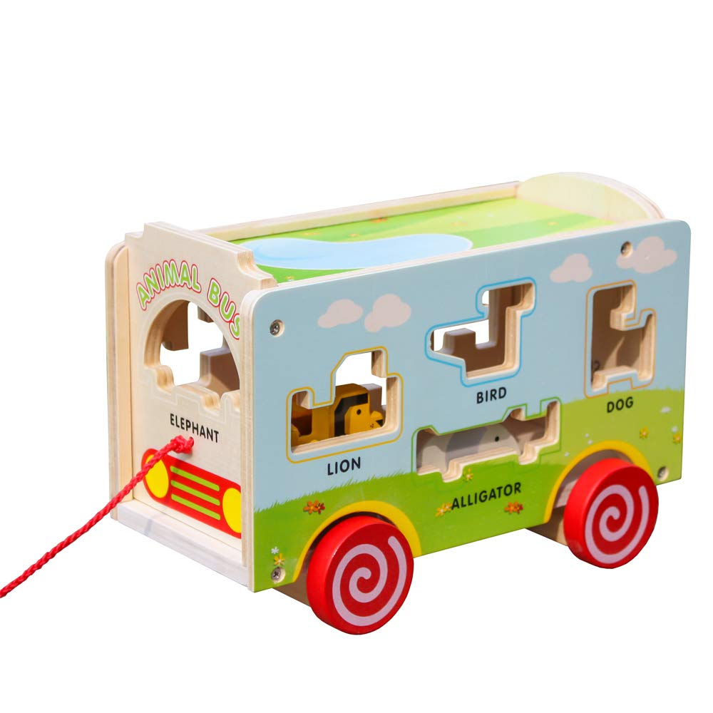 london kate Deluxe Wooden Toddlers Push Pull Along Animal Bus with Animal Blocks for Early Educational Games for Kids