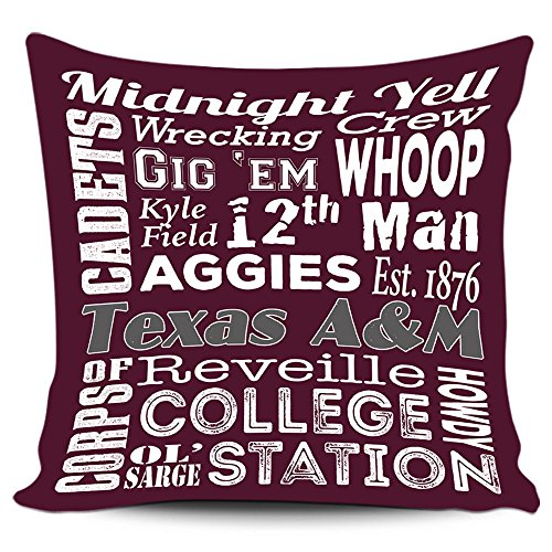 Texas A&M Aggies Sayings Pillow Cover with Zipper (Texas A&m Decor)