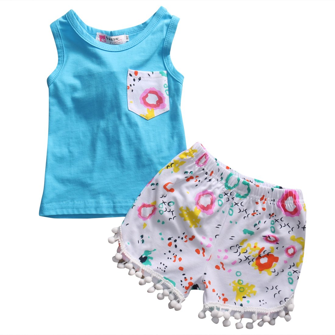 Little Toddler Girls' 2 Piece Vest Shirt And Floral Pompom Short Pants Set