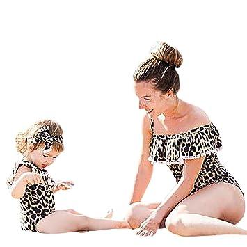 b0eefee4af56 Leopard Print Baby Mother Swimsuit