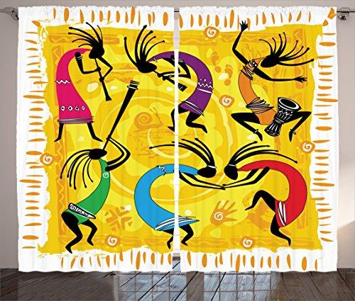 "Ambesonne Kokopelli Curtains, Dancing Playing Musical Instrumentss on Tribal Patterns Artwork, Living Room Bedroom Window Drapes 2 Panel Set, 108"" X 90"", Purple Yellow"