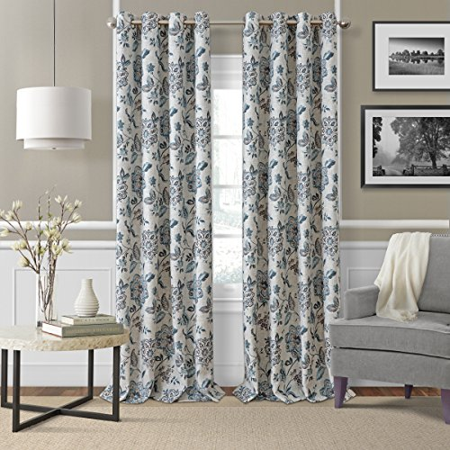 Elrene Home Fashions Room Darkening Grommet Linen Single Panel Window Curtain Drape, 52