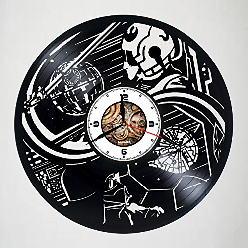 Darth Vader - Death Star - STAR WARS - Handmade Designed Vinyl Record Wall Clock - Decorate your home with Modern Large Art - Best gift for friend, man and boy - gift for kids - Customize your clock ! ()