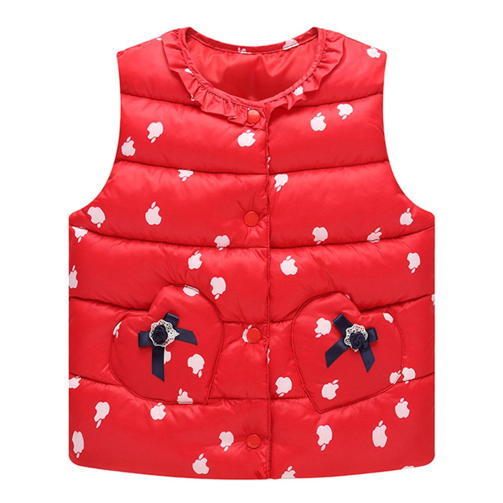 Hibote Lightweight Vest For Little Girls Kids Autumn Winter Thick Warm Gilet Button Round Collar Sleeveless Outerwear Cute Bowknot Princess Waistcoat Down Jackets D171212MY1-X
