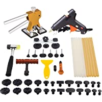 Mookis Paintless Dent Repair Tools Kit- Tools 41PCS with Golden Dent Lifter + Pops a Dent Bridge Dent Puller Kit + Tap Down Tools Rubber Hammer+ Glue Sticks[Glue Gun Included]