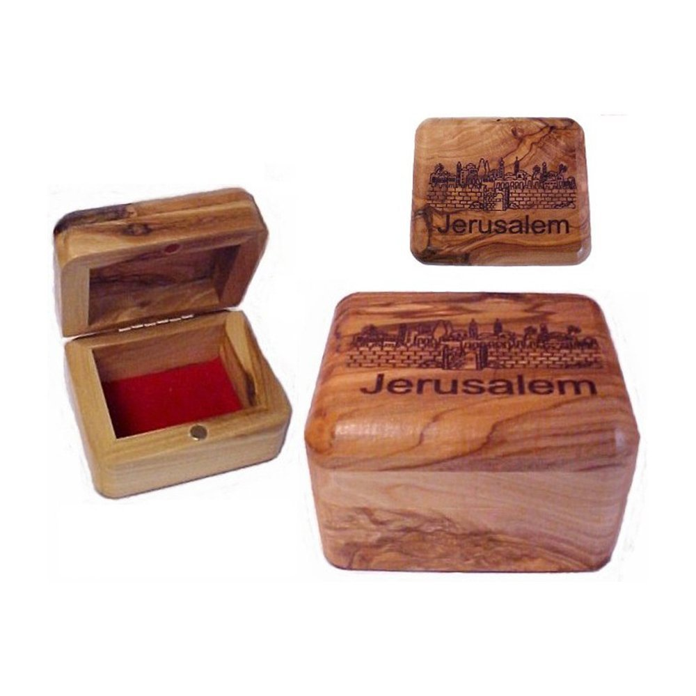 Handcarved Holy Land Olive Wood Rosary Jewelry Box by Bethlehem Gifts TM (Jerusalem City View)
