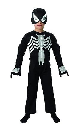 Rubies EVA músculo del Pecho del Hombre araña Negro Traje. Grande 7-8 años.