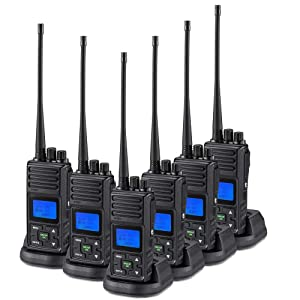 SAMCOM 5 Watts Two Way Radio Long Range Handheld UHF Business Radio for Adult Programmable Walkie Talkie with Rechargeable 1500mAh Battery LCD Display Charging Docks Earpieces (6 Packs)
