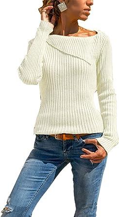kefirlily Mujer Jersey Ajustado en Punto Suave de Canalé Jersey ...