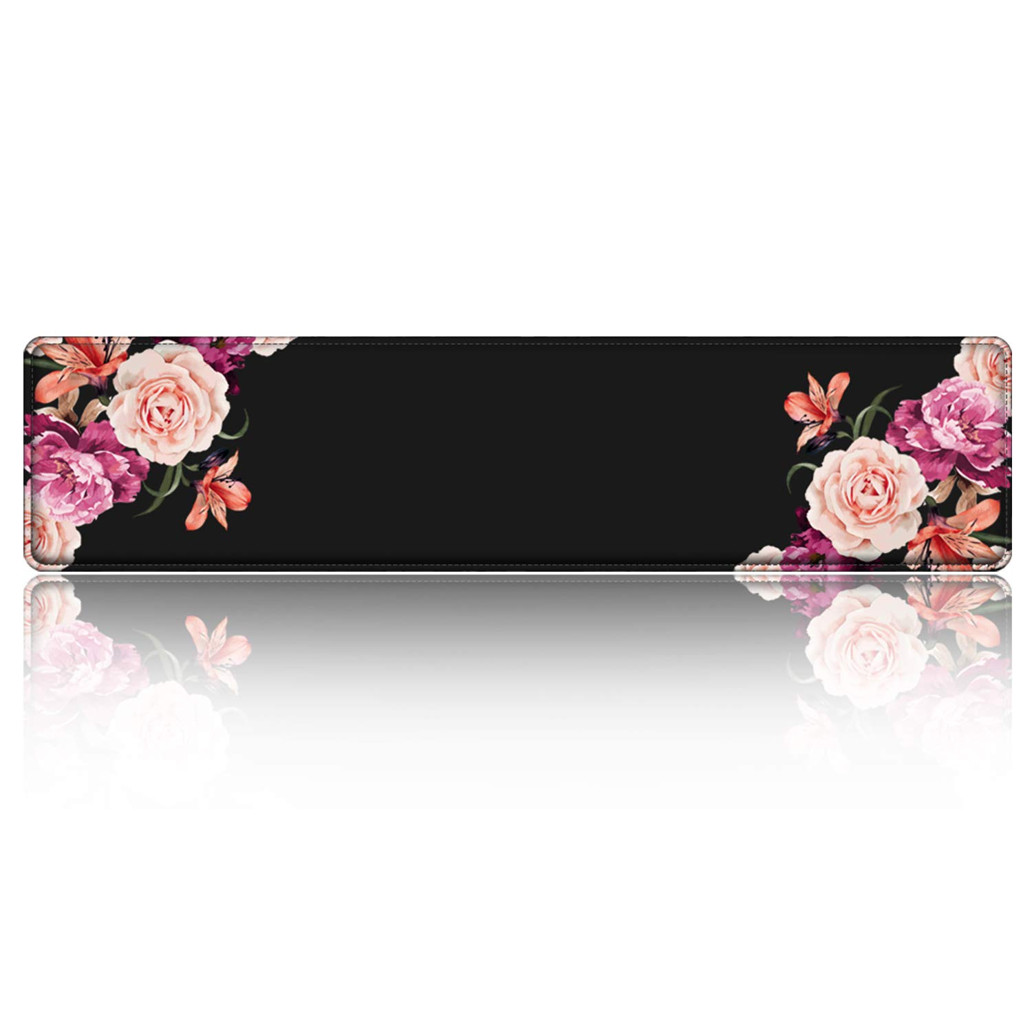 iLeadon Keyboard Wrist Rest Pad, Ergonomic Wrist Support with High Density Memory Foam & Stitched Edges, 16.5 x 3.5-inch 1.8cm Thick for Gaming Working Typing Wrist Pain Pressure Ease, Peony Flower