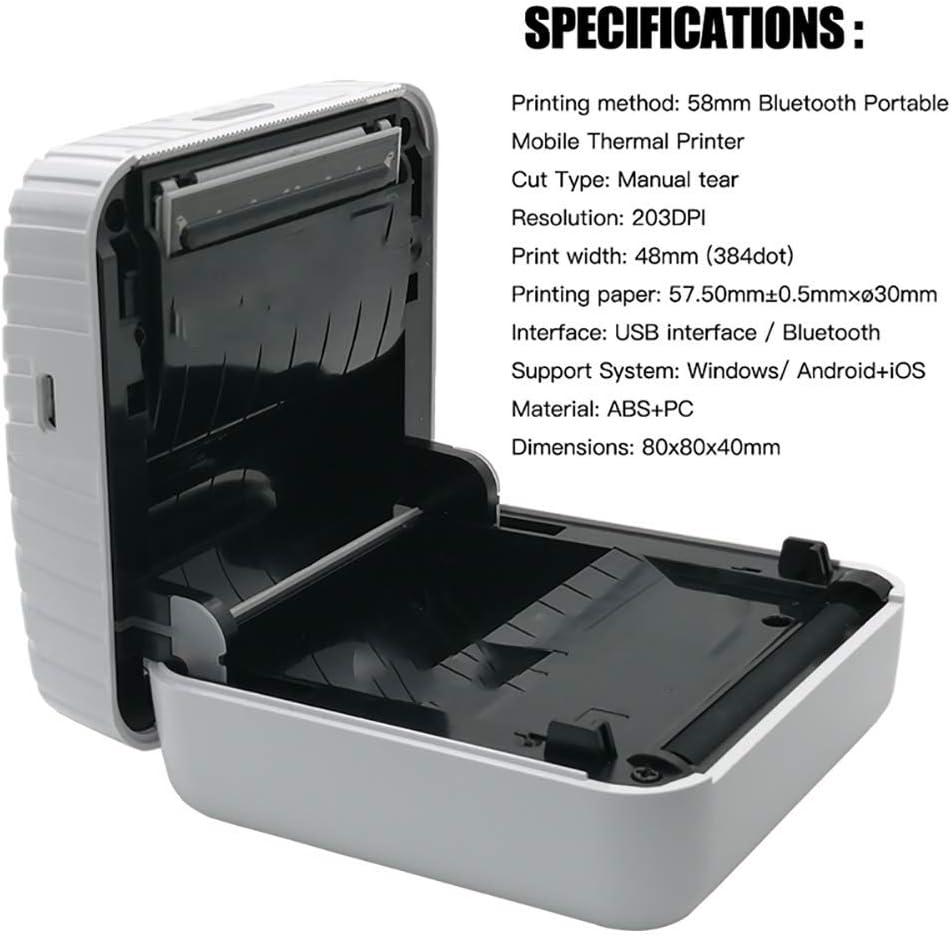 WOWOGA Mini Impresora para teléfono Inteligente, Bluetooth 4.0 ...