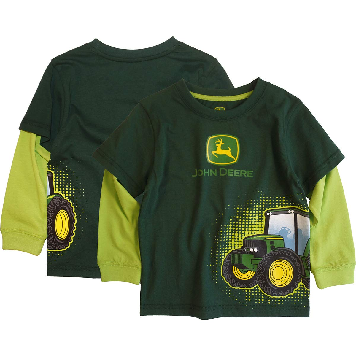 John Deere Dark Green Toddler Tractor Burst Long Sleeve T-Shirt 4T