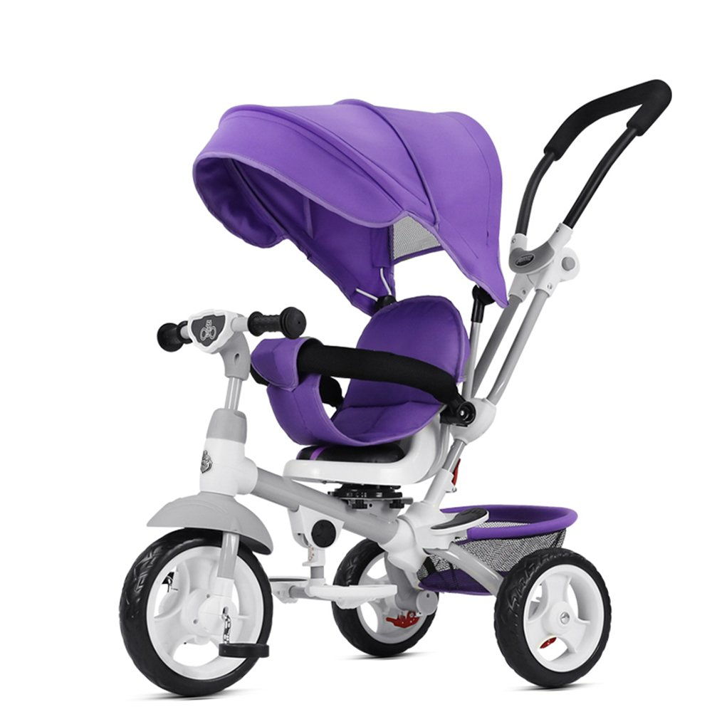 YANGFEI ベビーカー 複数の赤ちゃん三輪車三輪車調整可能なサンシェードサイレントホイールの容量は18ヶ月 - 5年間で25 KGまで ショックアブソーバタイヤ  Purple B07DWV2GR5