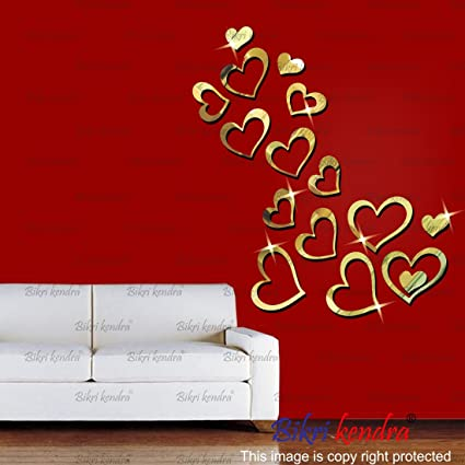 Bikri Kendra Premium 3D Acrylic Love Hearts Wall Decor Mirror Stickers for Home and Office(Multicolour)