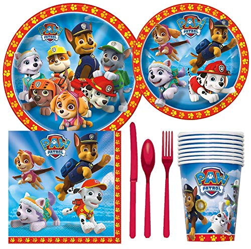 Paw Patrol Birthday Party Supplies Pack Including Cake & Lunch Plates, Cutlery, Cups & Napkins for 8 Guests -