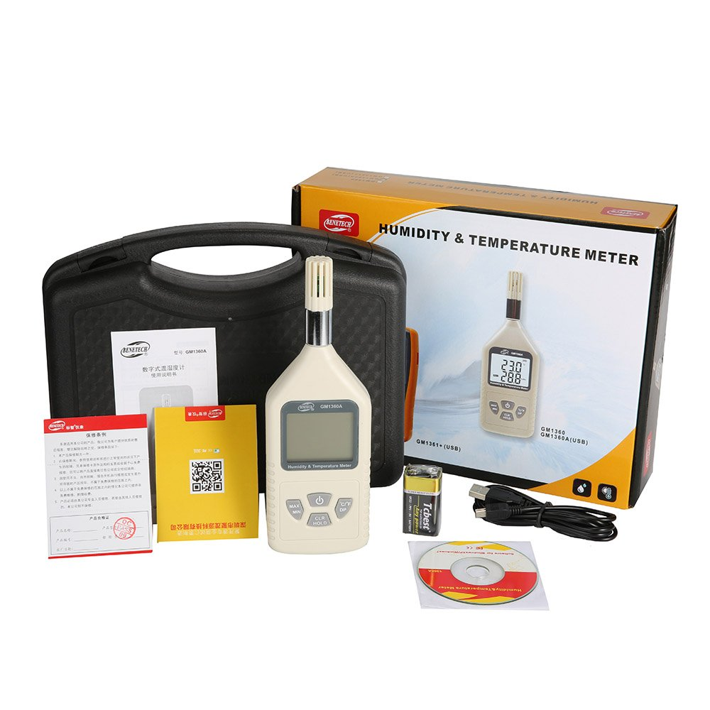 Digital USB humidity temperature meter dual display 0%~100%RH(-30~80C) hygrometer GM1360A with carry box GM1360A