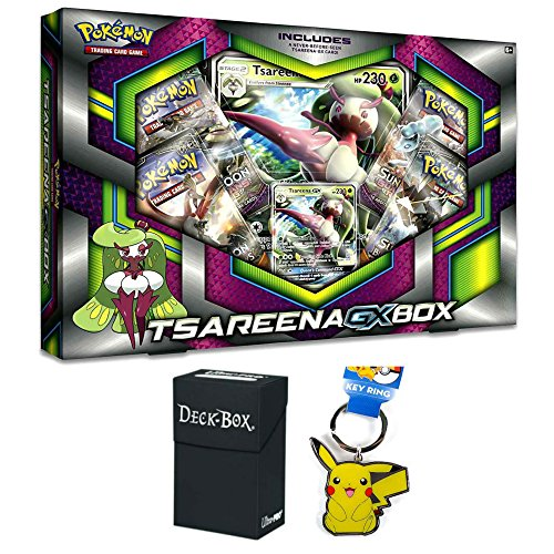 Pokemon Tsareena GX Premium Collection Box with Tsareena GX Promo Card, Oversized Jumbo Pokemon GX Card, 4 Factory Sealed Pokemon Booster Packs, Pikachu Keychain and Ultra Pro Deck Box Bundle (Mini Deck Prism)