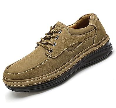 CAMEL CROWN Zapatos Casuales para Hombres Otoño Invierno Scrub Leather Zapatos Hechos a Mano Zapatos Caminar con Cordones Viajes De Trabajo Al Aire Libre: ...